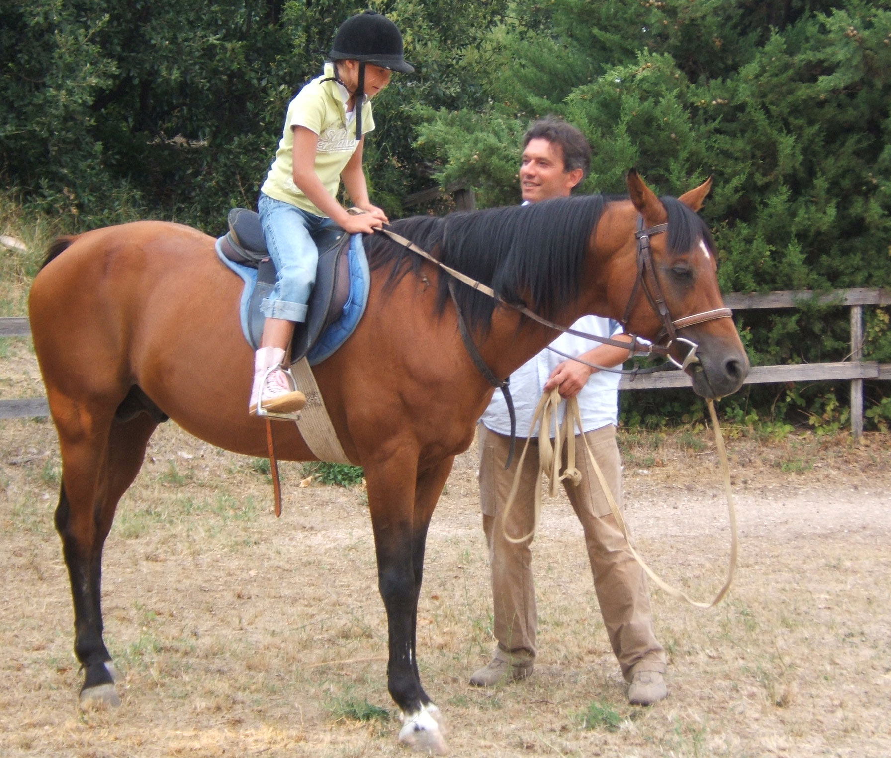 Horse back riding lessons just for kids at Caravanserraglio in Marche Italy