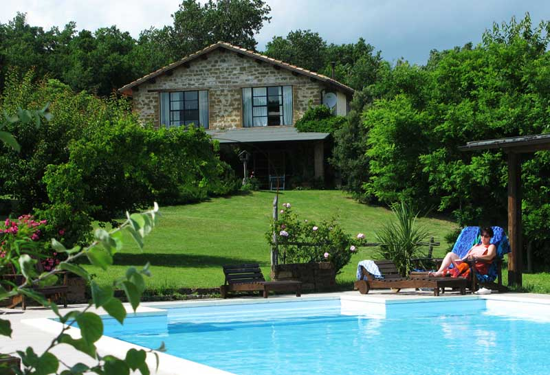 the Property has a beautiful pool and gardens, in Marche Italy