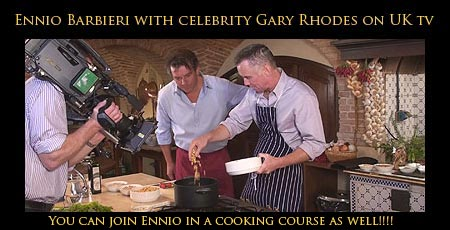 Chef Ennio Barbieri with UK tv star Gary Rhodes on the BBC