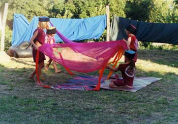 children's circus on holiday in Marche, Italy.
