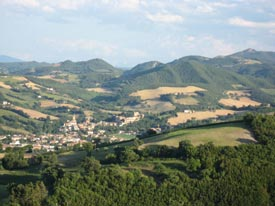 the Property has a beautiful view and gardens, in Marche Italy