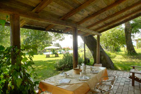 Outdoor patio for dining, Marche Italy